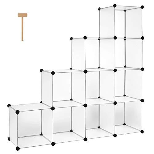 HOMFA Schrank DIY Kleiderschrank Regalsystem Stufenschrank Bücherregal Weiß Ohne Türen 35x35x35cm -