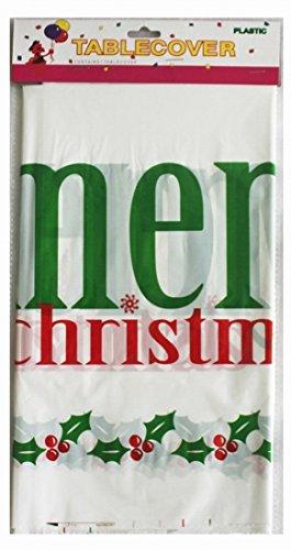 Salome Idea 3er-Pack Rechteckige Tischdecke für Geburtstagsparty/Bankett/Anlass, Einweg-Tischdecken, PE Tischdecke, Bedruckt, 177,8 x 106,7 cm Merry Christmas-White (Für Ideen Geburtstagsparty)