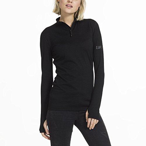 Zugspitze Damen Langarmshirt schwarz aus Merinowolle - TRISANA - Longsleeve Shirt mit Reißverschluss im Kragen & extralangen Ärmeln, Funktionsshirt - Größe L - Nur erhältlich auf Amazon.de