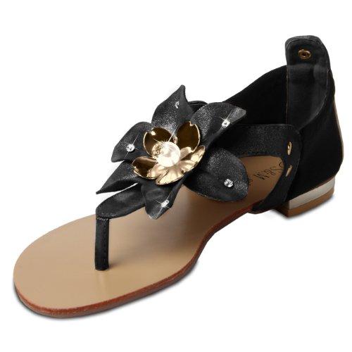 CASPAR Damen Sandalen Sandaletten Zehentrenner mit funkelnder Blume und Strass Steinen - viele Farben - SSA002 Schwarz