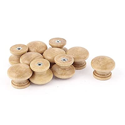 sourcingmap® 27mm Cupboard Cabinet Door Round Wooden Pull Knob Handles Khaki 10 Pcs - low-cost UK light shop.