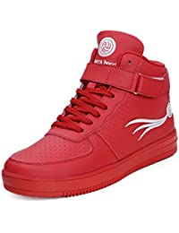 Bacca Bucci Men's Lightweight Breathable Basketball Hi-Top Trainers Sneakers/Shoes-Red