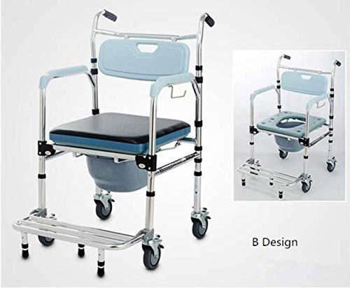 Mobiler Duschstuhl Commode Duschstuhl Rollstuhl Toilettensitz Stuhl mit Fußstütze für ältere Patienten nach Hause Elederly,B - Mobiler Duschstuhl