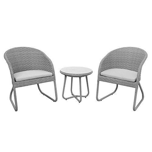 anndora Susila Rattan Sitzgruppe Balkon Gartenmöbel 2 Stühle mit Kissen + Tisch Grau
