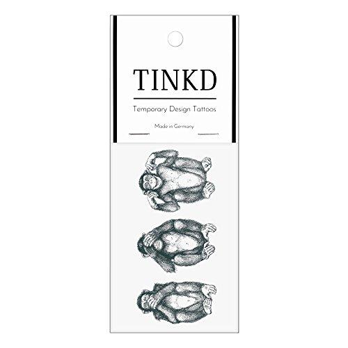 TINKD Temporary Tattoo Crazy Monkeys - Hochwertige temporäre Klebetattoos - Made in Germany - Dermatologisch getestet - Design Flash-Tattoos zum Aufkleben