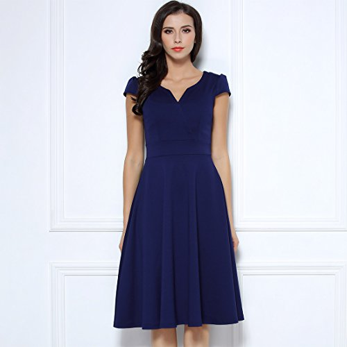 Miusol Damen 50er Vintag Style Swing A-Linie Kleid Dunkelblau Gr.S-XXL Dunkelblau