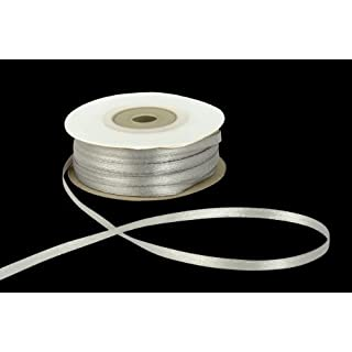 3mm x 50m Silver Double Sided Satin Ribbon
