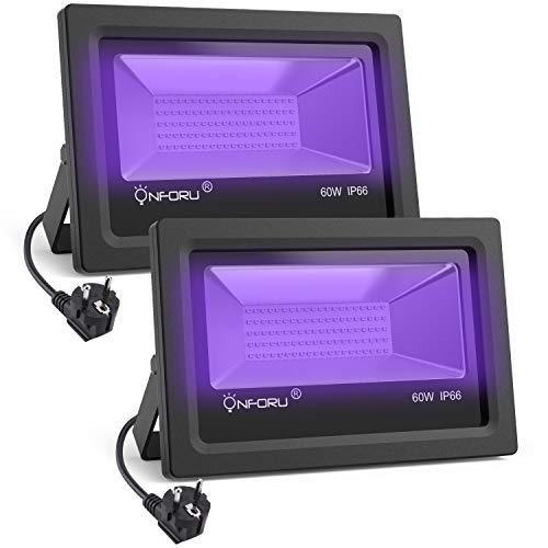 Onforu 2er Pack 60W UV LED Schwarzlicht | UV LED Flutlicht Strahler Lichteffekt Partylicht Bühnenbeleuchtung mit EU Stecker | IP66 Wasserfest | Geeignet für Club Party Karneval Disco Bar ()