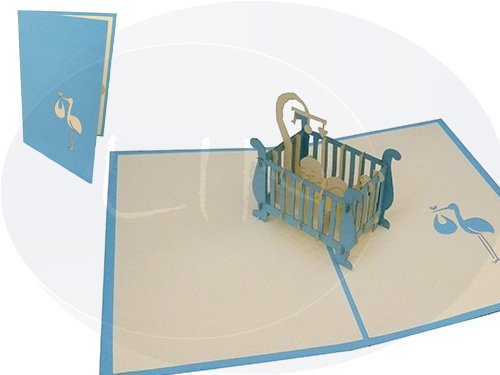 Carte de vœux 3D pOP uP geburtskarte klapperstorch lit un garçon bleu/crème