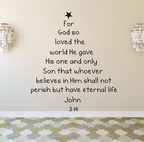 Xzfddn Bibel Vers Weihnachtsbaum Wandtattoo Removable Bible Vers Wall Art Decal Home Decoration Weihnachten Fenster Wandbilder Kunst