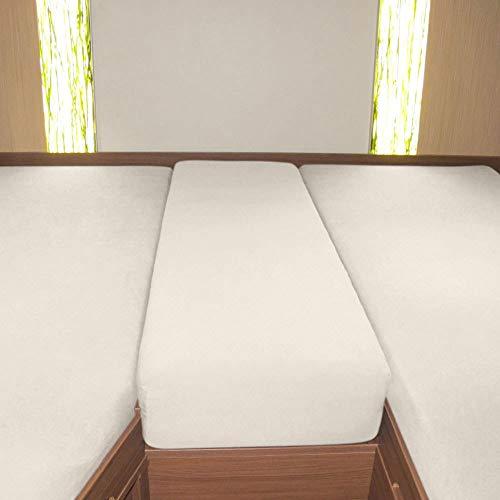 Preisvergleich Produktbild G BETTWARENSHOP Wohnmobil Wohnwagen Heckbett Spannbetttuch-Set 3-teilig Sand,  2 Längsbetten + Mittelteil