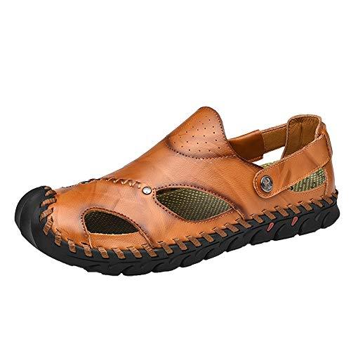 EGS-Shoes Sommer Strand Sandalen für Männer Outdoor Wanderschuhe Slip On Echtes Leder Geschlossene Zehen Perforiert Handarbeit Nähen Gutes Wandererlebnis,Grille Schuhe (Color : Gelb, Größe : 38 EU)
