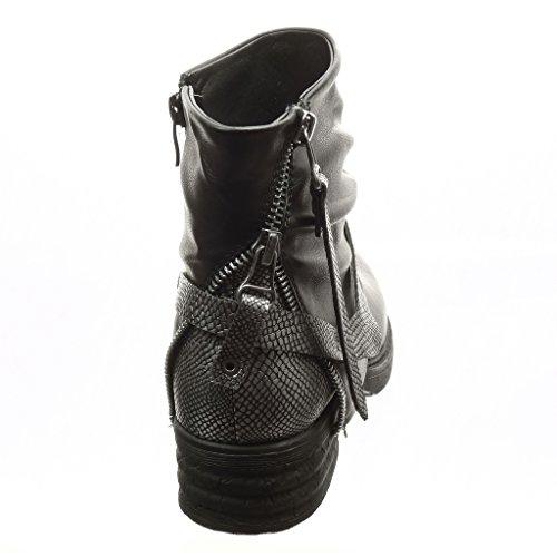 Angkorly - Chaussure Mode Bottine motard cavalier femme boucle peau de serpent fermeture zip Talon bloc 4 CM - Intérieur Fourrée Noir