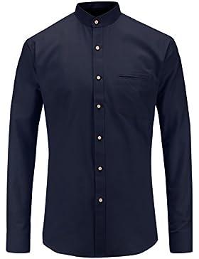 JEETOO Camicie Classiche Uomo Oxford Maniche Lunghe
