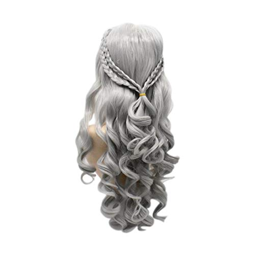 (Lang Gewellt Perücken Spiele Halloween Party Cosplay Kunsthaar Full Hair Perücke 66cm...)