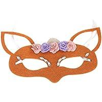 YAANCUN Máscara de Zorro Forma Flores Decoración Accesorios para Halloween Mascarada Fiesta Drama Obra de Teatro Actuación - Naranja