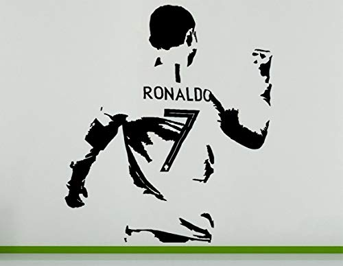 Cristiano Ronaldo Portugese Portugal Fußballspieler Wandkunst Aufkleber Bild - Schwarz, 56 cms wide x 65 cms high