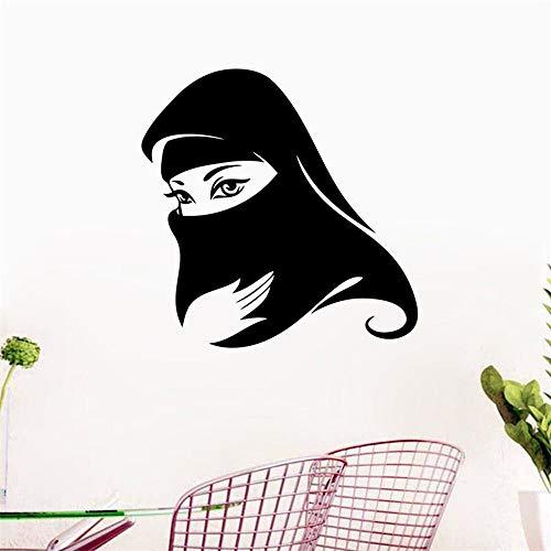 QTXINGMU Elegante Schwarze Arabische Muslimische Maskierte Frau Islamischen Wall Sticker Home Decor Für Mädchen Zimmer Deko Wandbild Kunst Aufkleber