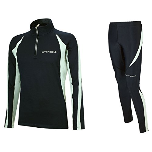 Airtracks Winter Funktions Laufset/Thermo Laufhose Lang Pro + Thermo Laufshirt Langarm Pro - schwarz - S - Damen