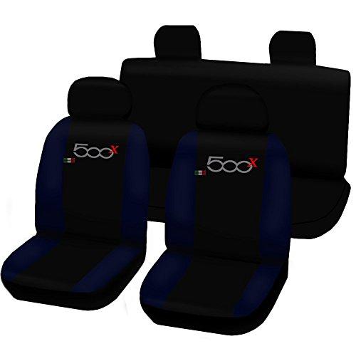 Lupex Shop 500x_N.Bs Coprisedili Auto, Nero/Blu Scuro