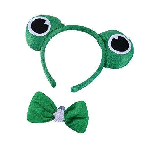 Frosch Kostüm Set Frosch Haarreif Fliege Tier Party Outfit Dekoration Set für Mädchen Junge ()