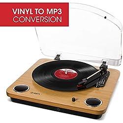 ION Audio Max LP - Platine Vinyle de Conversion avec Trois Vitesses et Enceintes Stéréo, Sortie USB, Sorties RCA - Finition en Bois Naturel