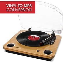 ION Audio Max LP – Platine Vinyle de Conversion avec Trois Vitesses et Enceintes Stéréo, Sortie USB, Sorties RCA et Sortie pour Casque Audio – Finition en Bois Naturel