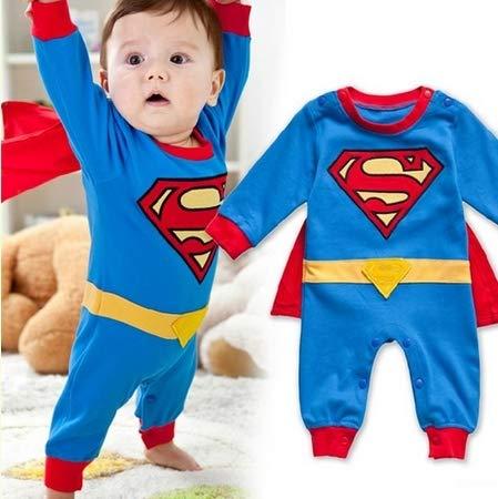 Lightsalt Bebé Mameluco Manga Larga con Bata de Superman Disfraz Halloween Navidad Regalo