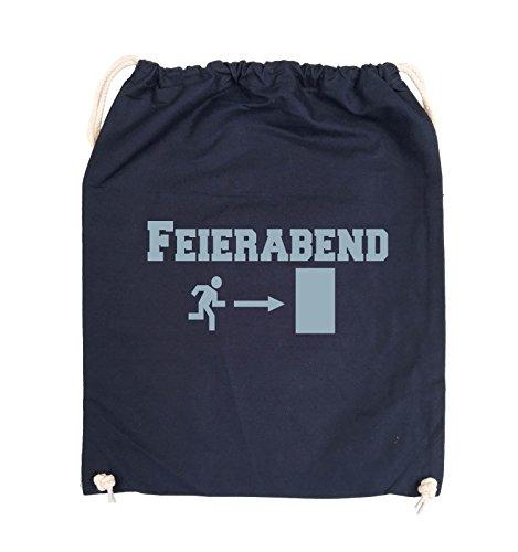 Comedy Bags - FEIERABEND - EXIT - Turnbeutel - 37x46cm - Farbe: Schwarz / Pink Navy / Eisblau