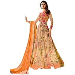 Alka Tex Women's Net Anarkali Salwar Suit Set (Ssue2276-App_Orange_Free Size)