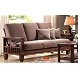 Mamta Decoration Solid Sheesham Wood 6 Seater Sofa Pack (Walnut Brown)