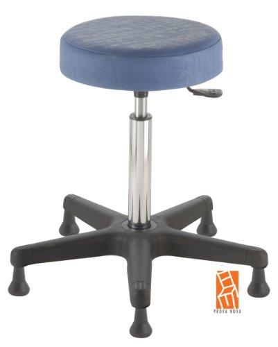 Arbeitshocker , Arzthocker, Drehhocker, Standhocker Modell comfort, Hubbereich ca. 54 -73 cm, rutschfeste Bodengleiter, Sitzfarbe sky-blau
