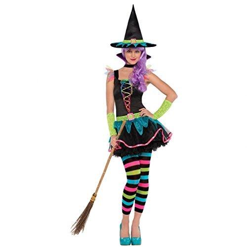 Neon Hexe Kostüm Teen - Klein - Bis zu 12 - Kleine Hexe Teen Kostüm