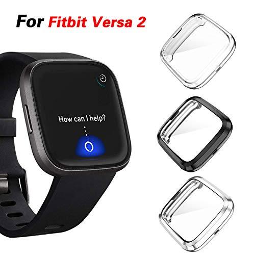 Jvchengxi Cover per Fitbit Versa 2 Custodia, Case in Morbido Silicone di Gel AntiGraffio in TPU Ultra Protettiva per Fitbit Versa2 Smartwatch (Nero/Argento/Clear)