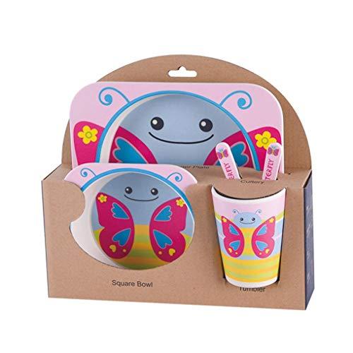 Lorsoul 5Pcs / Set Kindergeschirr Baby-Bowl-Essgeschirr, Naturbambusfaser, Schmetterling, Kleinkind-Cup-Löffel-Gabel (Kleinkind-schüssel-satz)