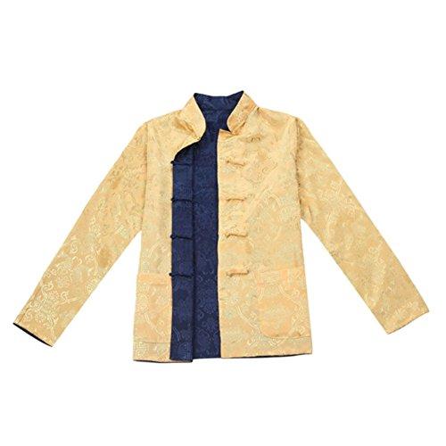 Deylaying Herren Reversibel Beide Seiten Mantel Jacke Tang-Anzug -