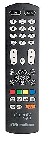 Meliconi CONTROL 2 DIGITAL Telecomando Universale 2 in 1 per TV e Decoder Terrestre o Satellitare, Compatibile con Tutte le Principali Marche e Modelli, Facile da Programmare