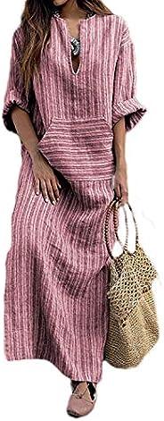 Women Vintage Loose Striped Long Sleeve Casual Baggy Kaftan Boho Plus Size Maxi Cotton Linen Dresses