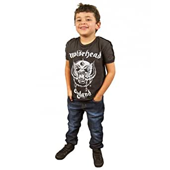 Amplified Childrens Motorhead England T Shirt, Charcoal Charcoal 6-12 Months