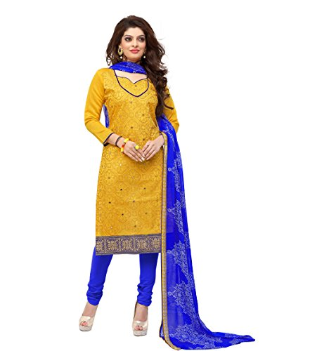 Kavvya Fashion Women's Yellow Cotton Printed Dress Material