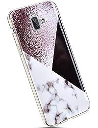 YSIMEE Compatible con Fundas Samsung Galaxy J6 Plus 2018 Estuches Suave TPU Gel Ultra Fina Goma Transparente Silicona Protector Cristal Anti-Golpes Carcasa Ultra-Delgado Anti-arañazos Case,Mármol #10
