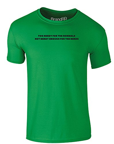 Brand88 - Not Nerdy Enough, Erwachsene Gedrucktes T-Shirt Grün/Schwarz