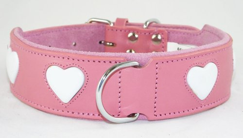 Hundehalsband, Leder, Rosa mit weißem Herzmotiv, für Halsumfang von 48-56cm