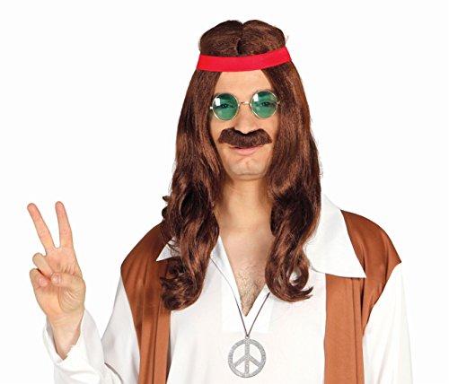 Enter-Deal-Berlin PERÜCKE - Hippie - braun, mit Schnurrbart & Stirnband