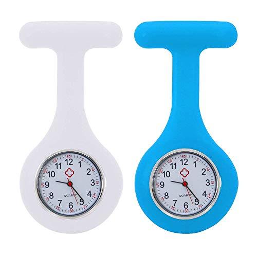 tumundo Schwestern-Uhr Puls Anstecknadel 2er Set Kittel Brosche Silikon-Hülle Quarz Damen-Schmuck Krankenschwester Pfleger-Uhr, Farbe:weiß + hellblau