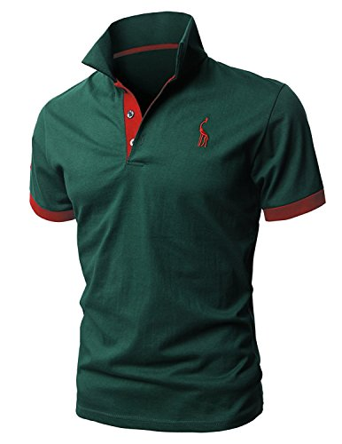 STTLZMC Poloshirts Herren Basic Kurzarm Polohemd M-XXL, Grün, XL