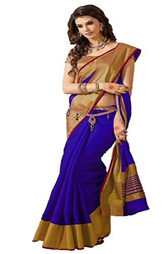 Indian Beauty Cotton Silk Saree (TESSER-HIT-BLUE_Blue_Free Size)