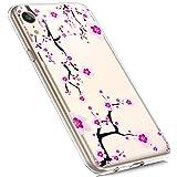 MoreChioce compatible avec Coque iphone XR Étui Silicone,Jolie motif Fleur Prunier Transparente Anti-Rayures Housse Protecteur Crystal Flexible Gel Souple TPU Case Bumper Skin