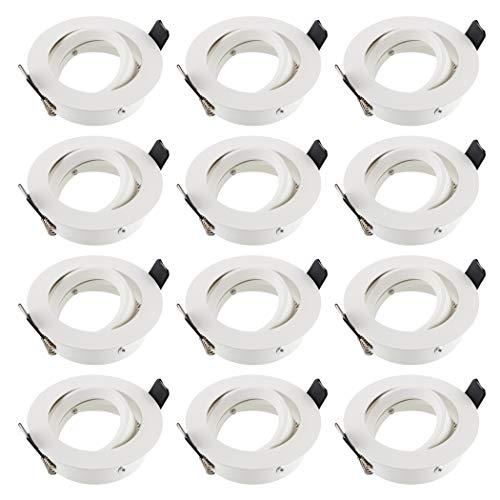 SEBSON® 12x Foco empotrable techo, orientable, redondo, blanco, incl. GU10 casquillo (LED/Halógeno)
