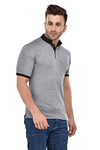 9Zeus-Half-Sleeve-Slim-Fit-100-cotton-Grey-with-Collar-T-shirt-For-Men